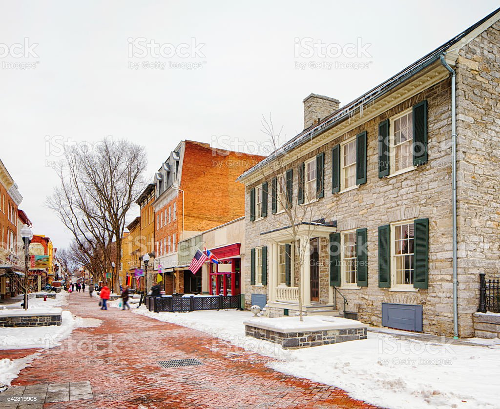 Winchester old town in Winter commercial section stock photo