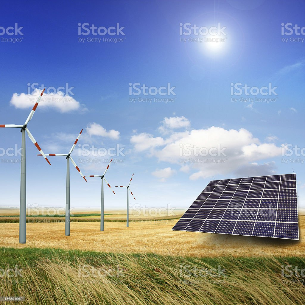 wind and solar generator royalty-free stock photo