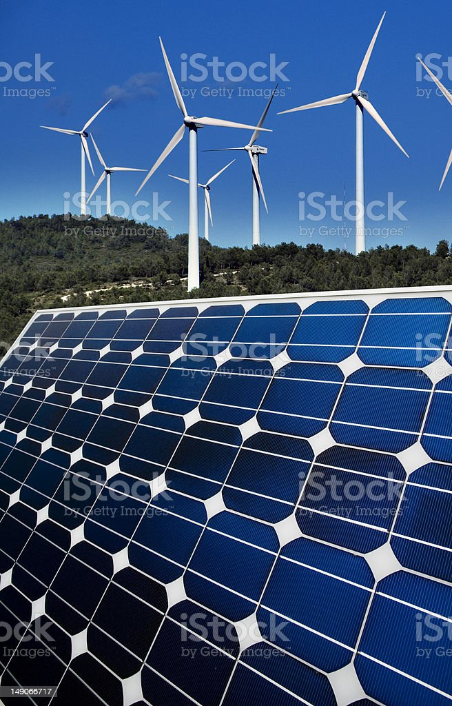 Wind and solar renewable energy royalty-free stock photo