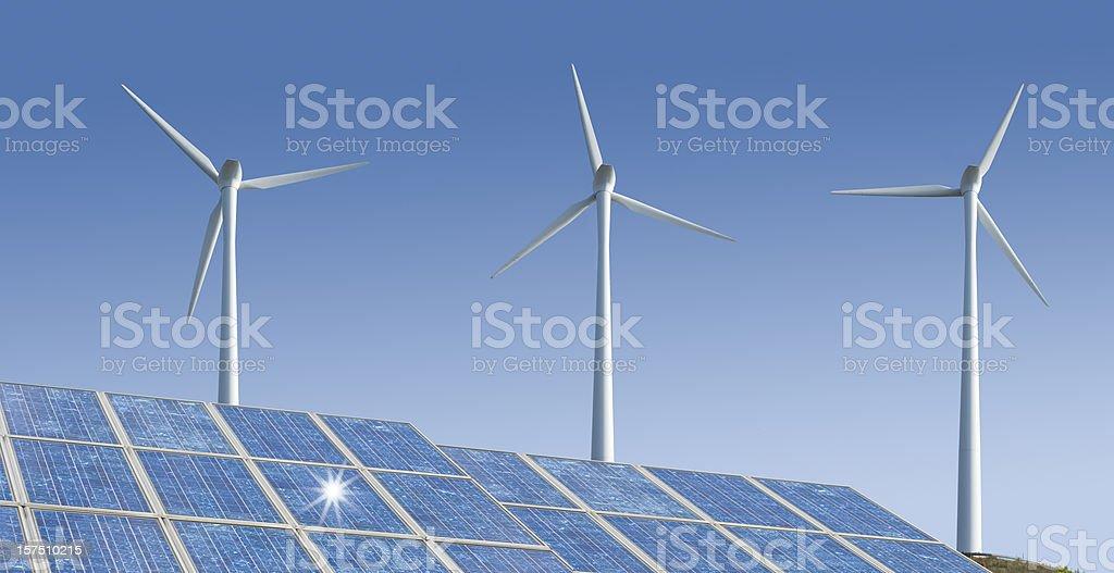 Wind- and Solarenergy (image size XXXL) stock photo