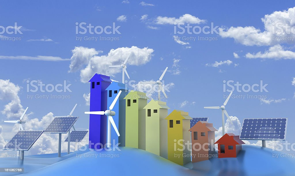Wind and sun energy royalty-free stock photo