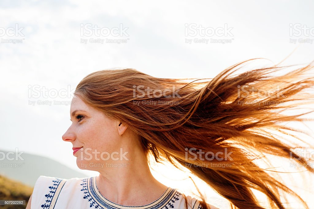 Wind Blowing Through My Hair stock photo