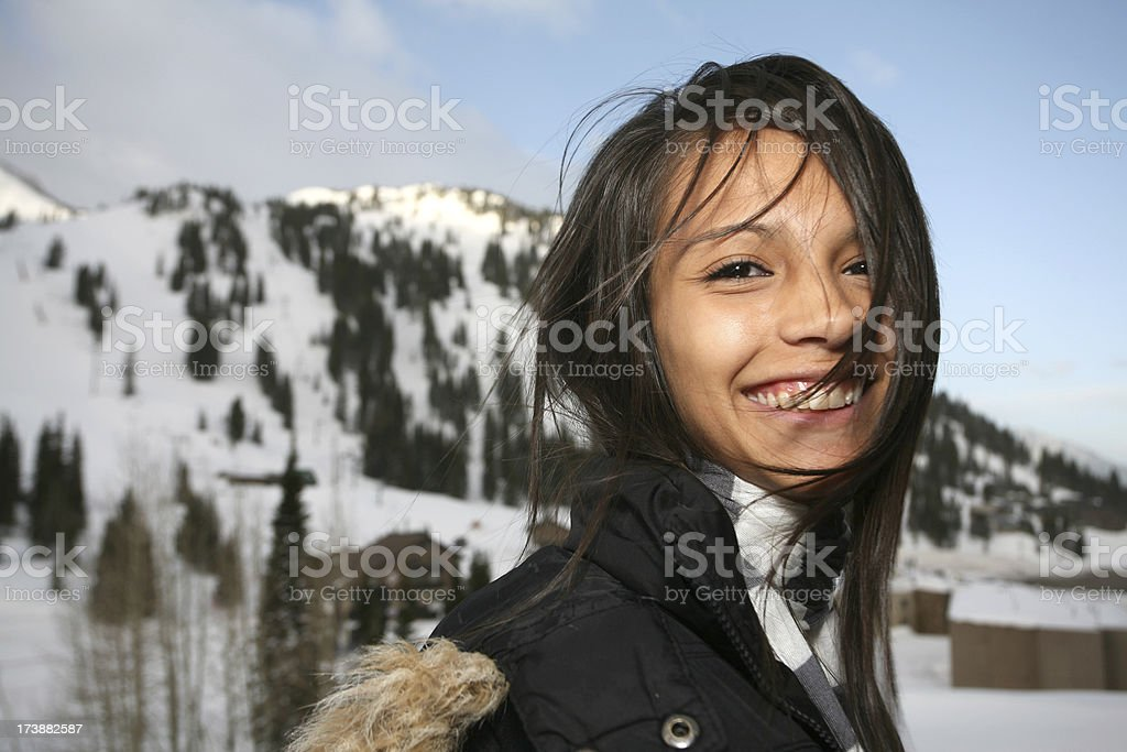 Wind Blown Teenage Girl in the Mountains royalty-free stock photo