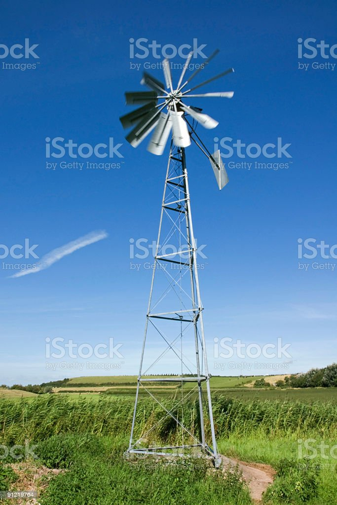 Wind driven water pump on Somerset Levels, UK stock photo