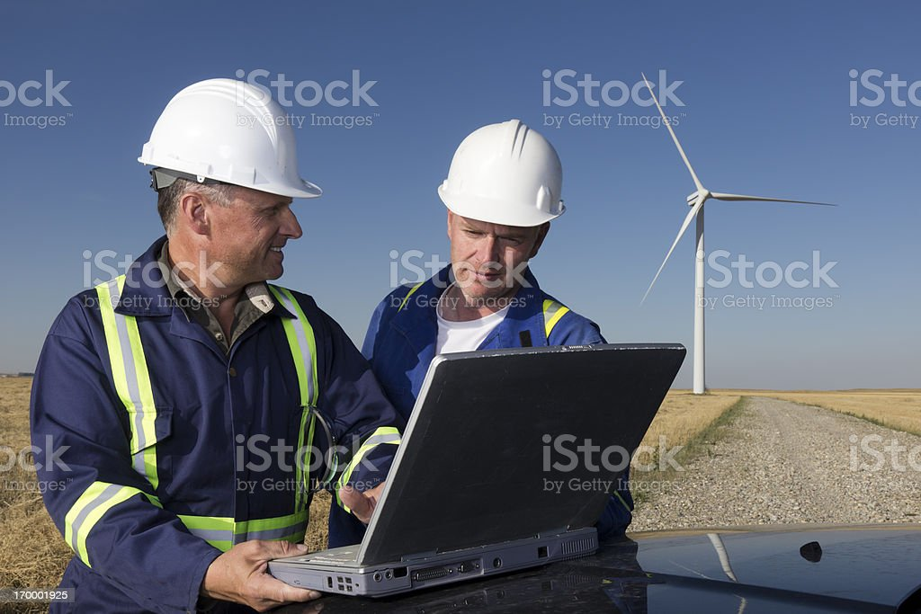Wind Energy and Laptop royalty-free stock photo