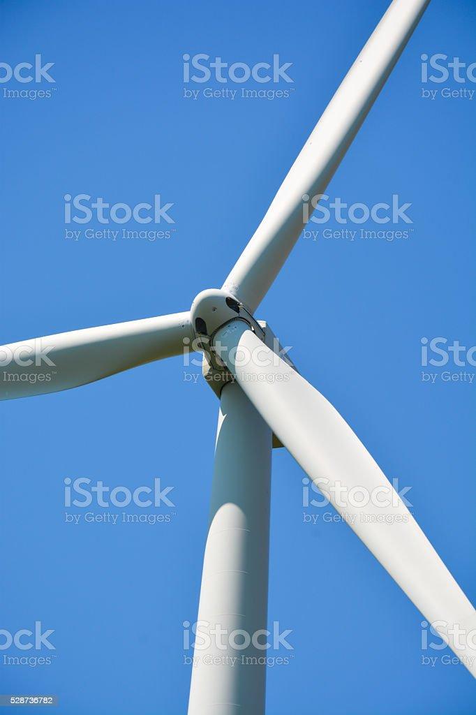 Wind energy turbines stock photo