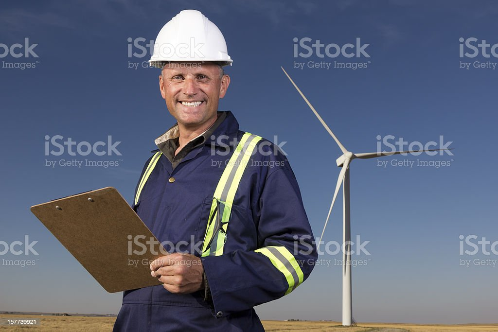 Wind Energy Worker royalty-free stock photo