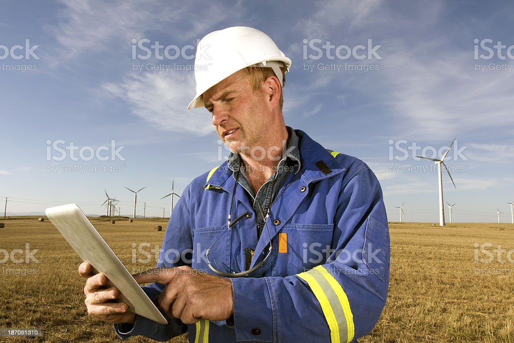 Wind Engineer and Computer royalty-free stock photo