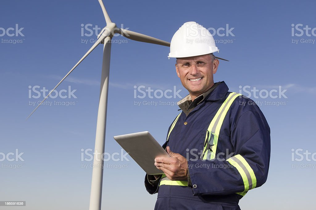 Wind Farm and Computer royalty-free stock photo