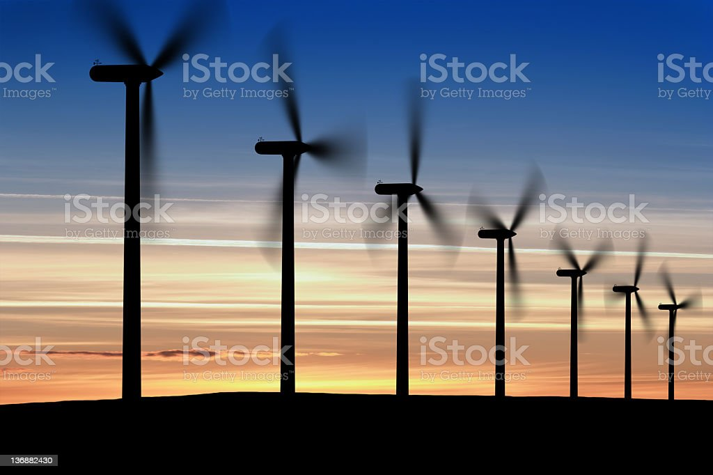 XXL wind farm at dusk royalty-free stock photo