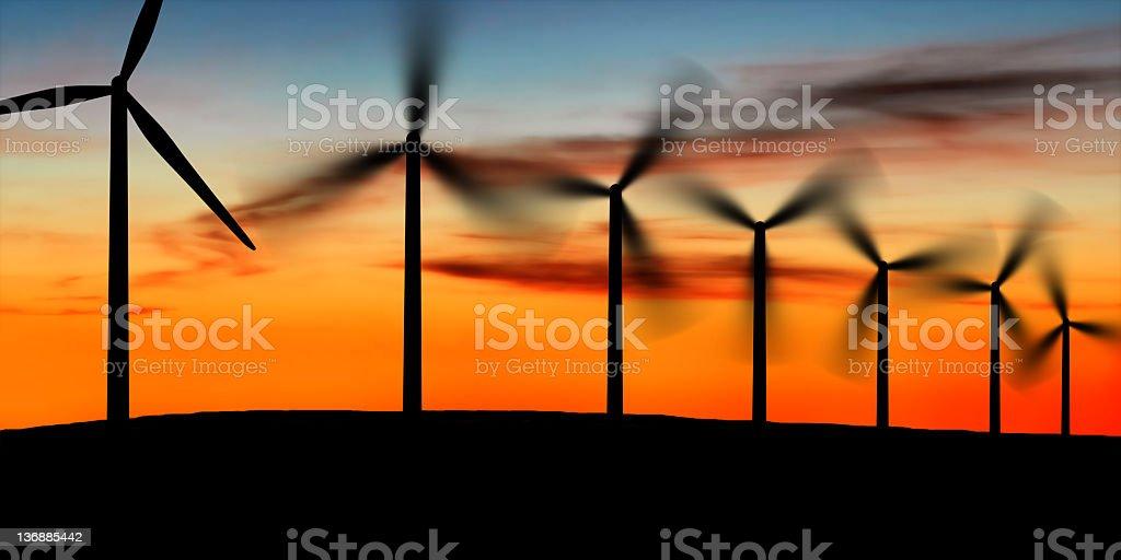 wind farm at dusk royalty-free stock photo