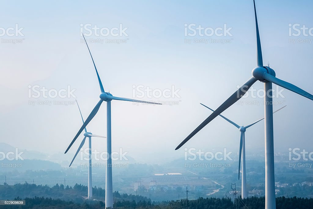 wind farm closeup stock photo