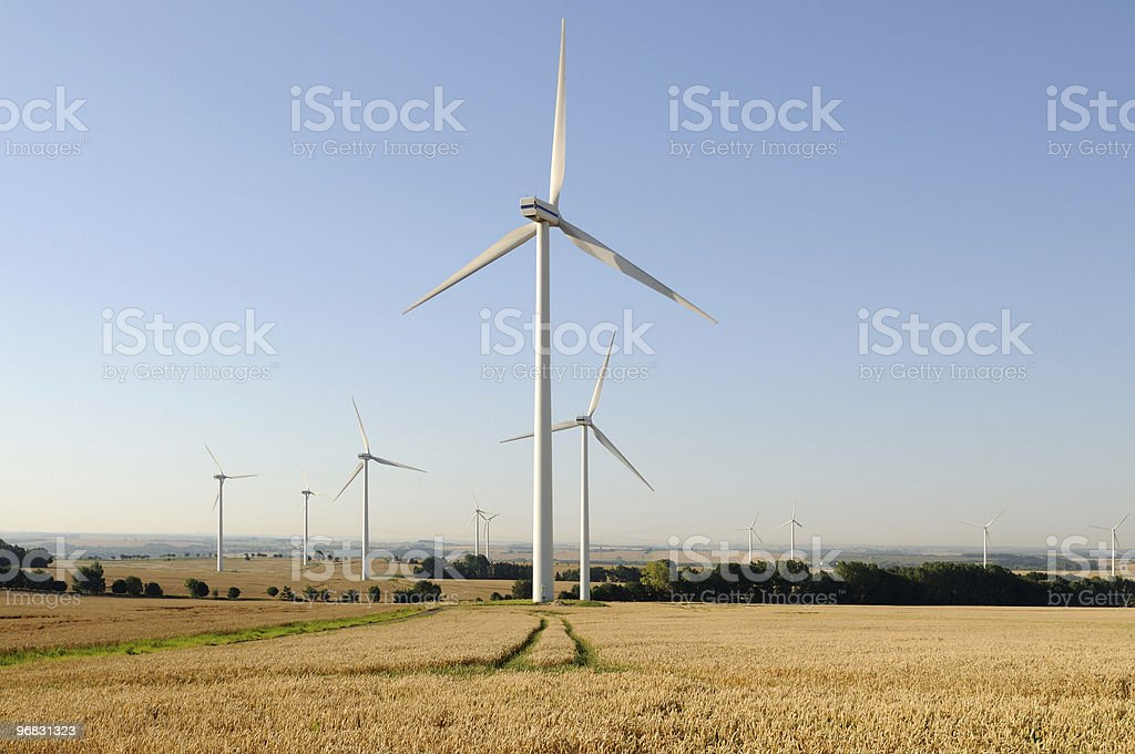 Wind Farm in Agriculture Landscape stock photo