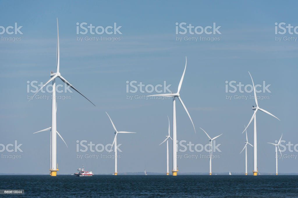 Wind farm in the water stock photo