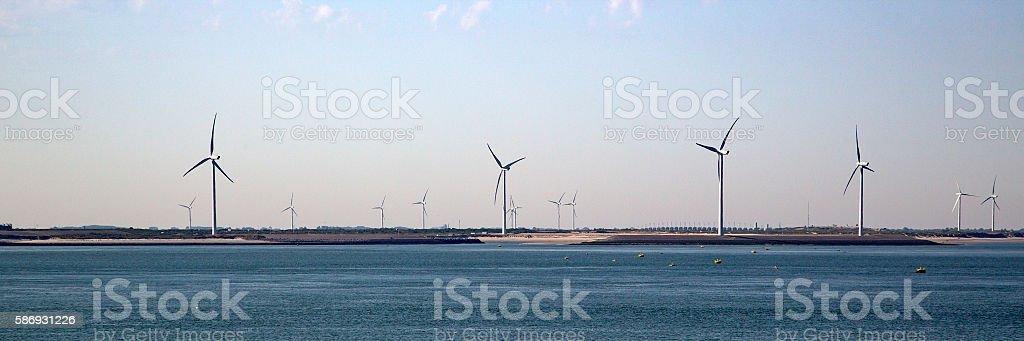 Wind farm near Eastern Scheldt barrier stock photo