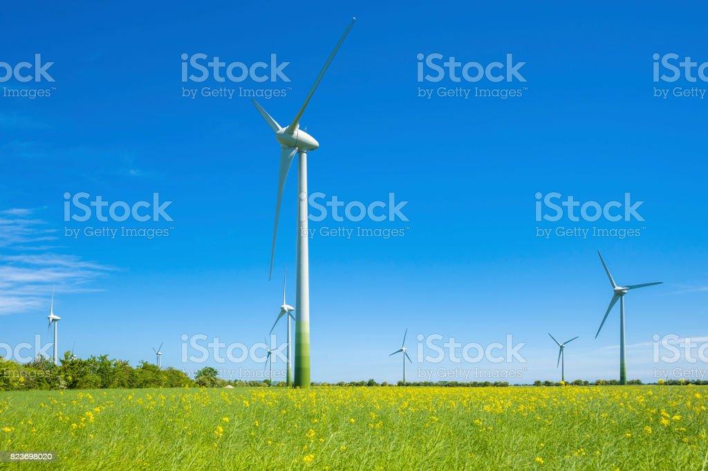 Wind farm near Schlagsdorf stock photo
