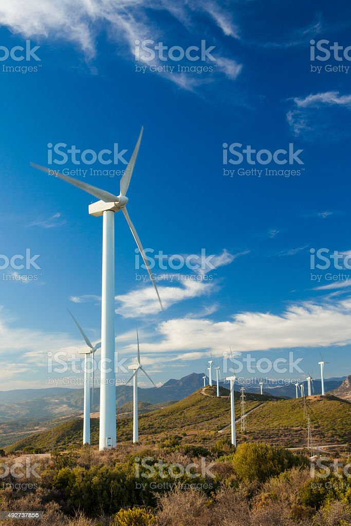 Wind Farm on a hilltop in Europe stock photo