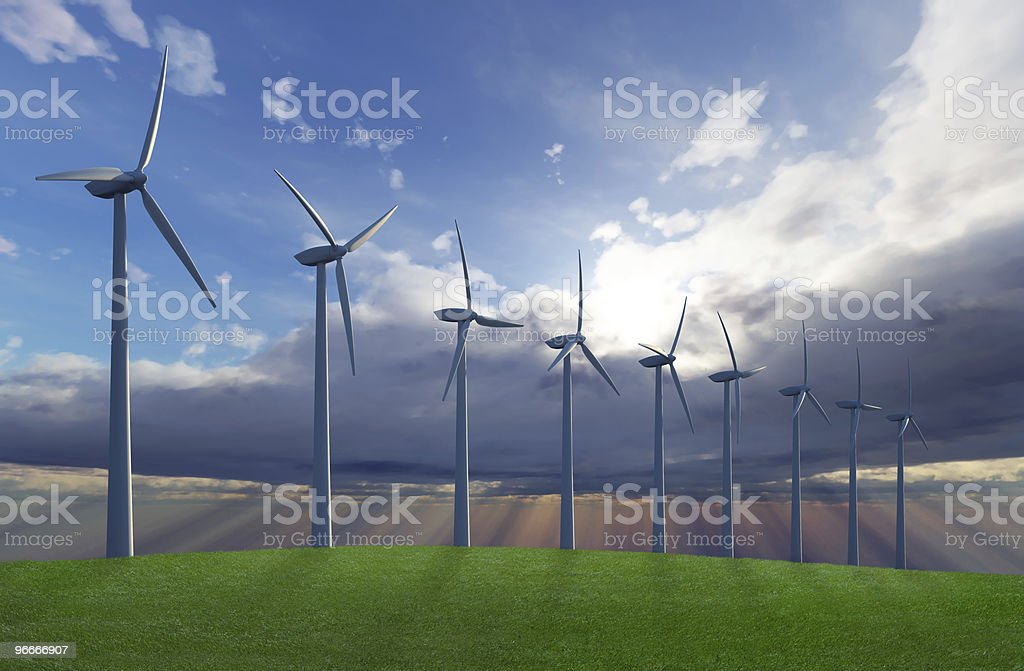 Wind farm on hill royalty-free stock photo
