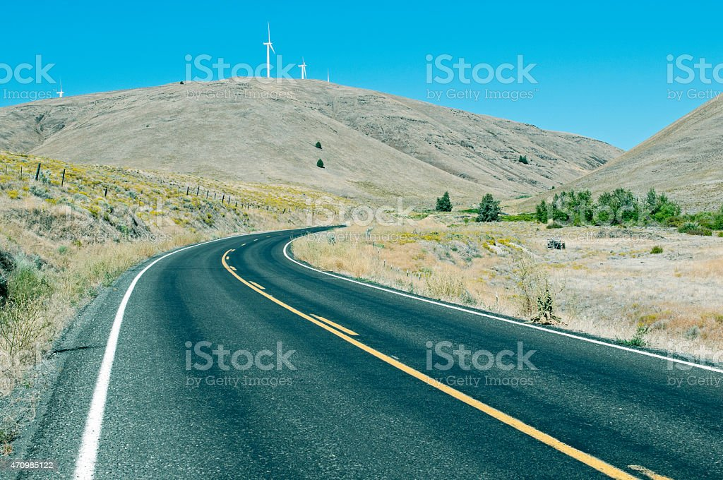 Wind farm on hills in rural southcentral Washington state stock photo