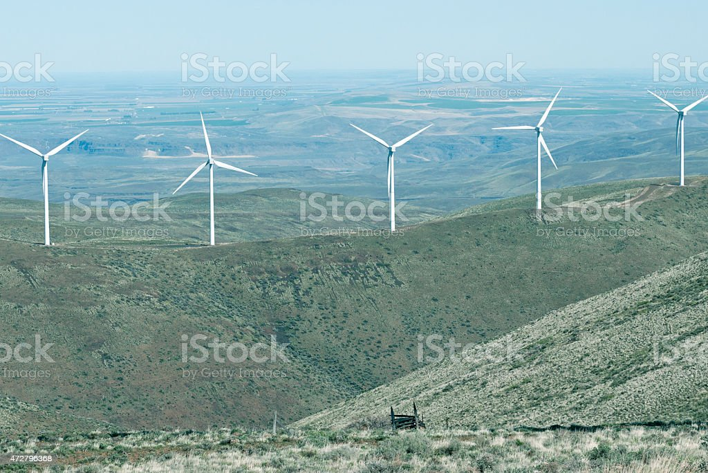 Wind farm on ranch land in central Washington state stock photo