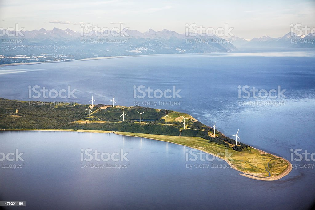 wind farm outside of Anchorage Alaska stock photo