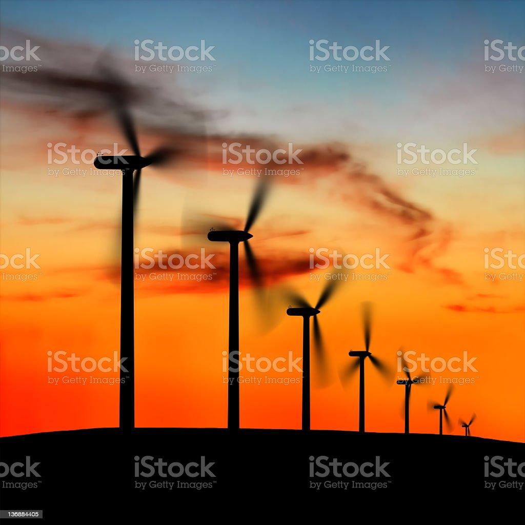 XXL wind farm silhouette royalty-free stock photo