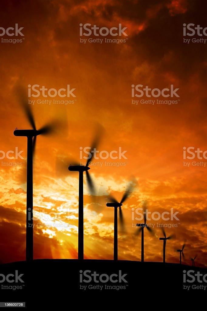 XXXL wind farm silhouette royalty-free stock photo