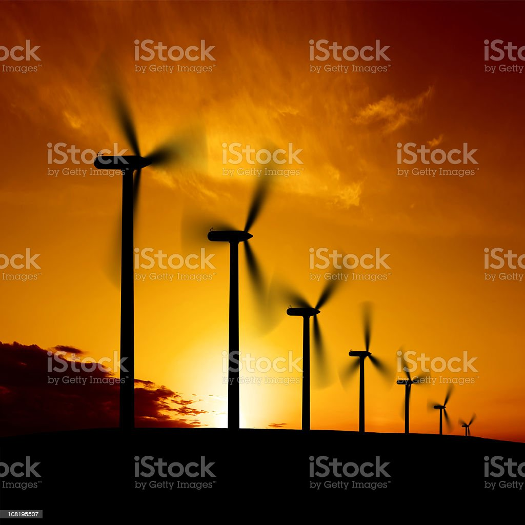 XXL wind farm sunset stock photo