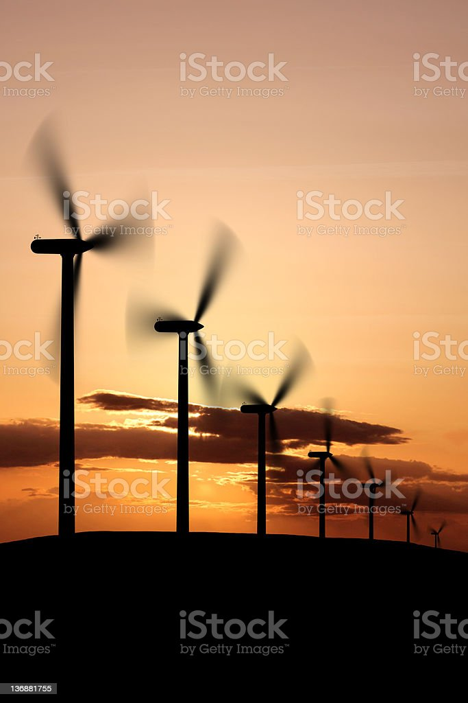 XXL wind farm sunset royalty-free stock photo