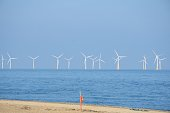 Wind farm with beach and lifebelt  in foreground
