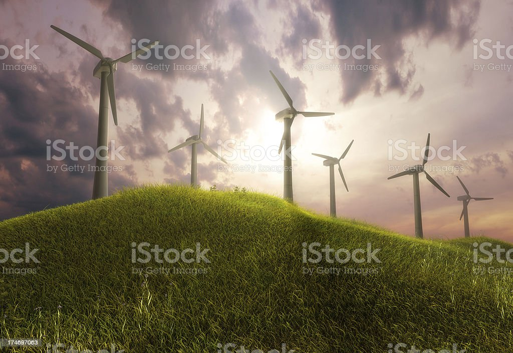wind generator park stock photo