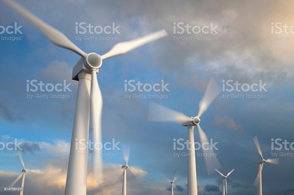 Wind generator turbines , Blurred motion stock photo