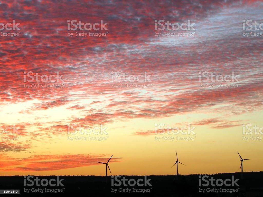 Wind Generators at Sunset stock photo