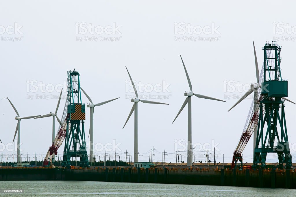 wind generators on the coast stock photo