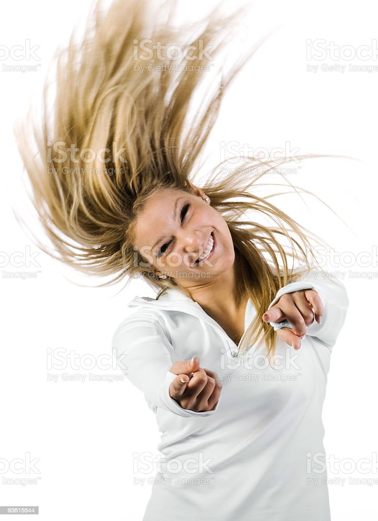 Wind hair woman stock photo