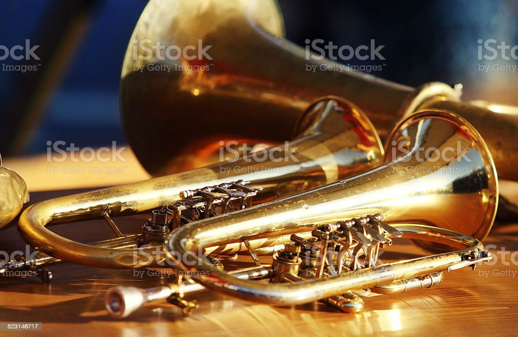 Wind instruments on table stock photo