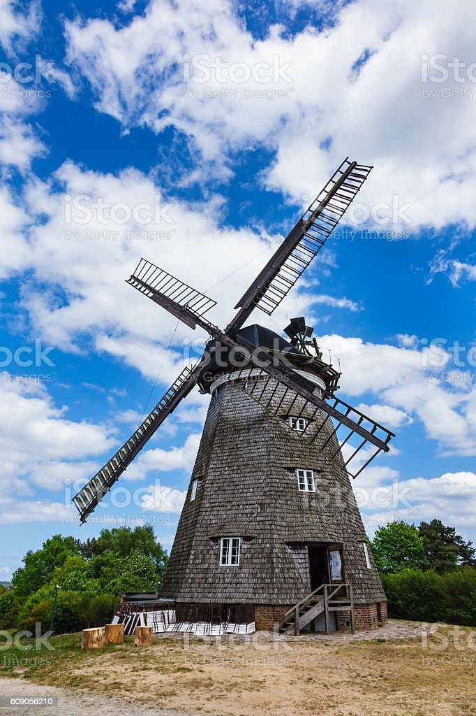 Wind mill on the island Usedom in Benz stock photo