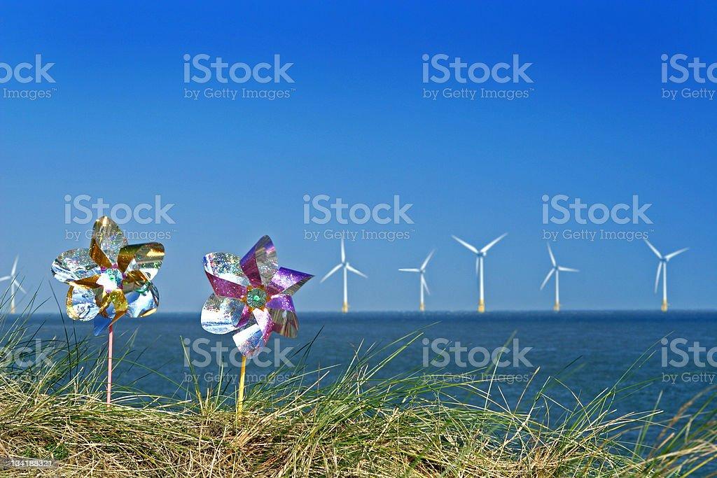wind mills and turbines stock photo