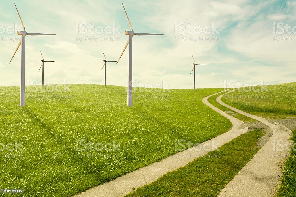 Wind mills park for ecologic and renewable electric energy production stock photo