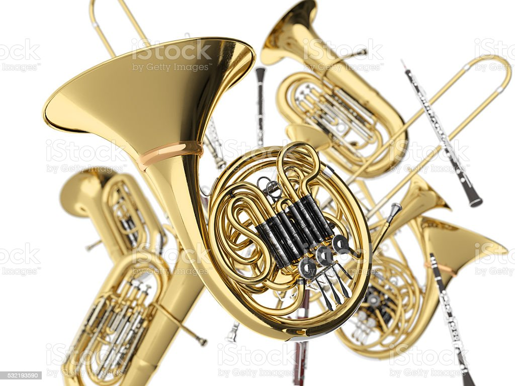Wind musical instruments  on white 3D rendering stock photo