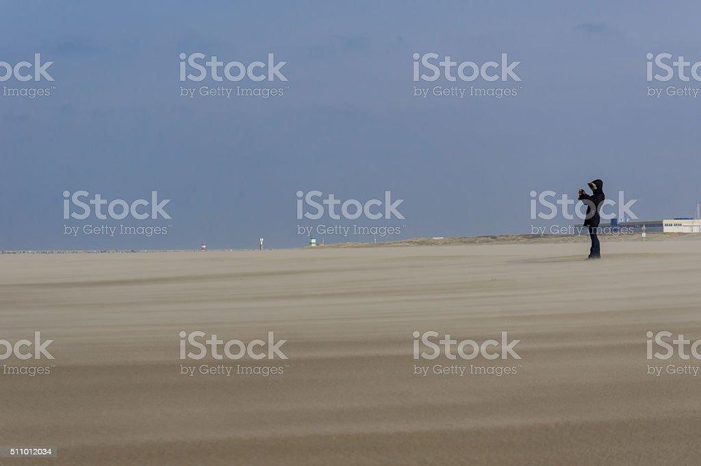 Wind on the beach stock photo