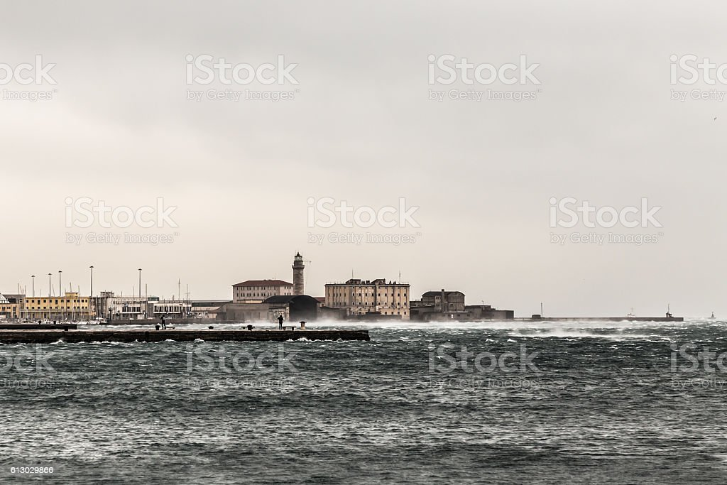 wind on the pier of Trieste stock photo