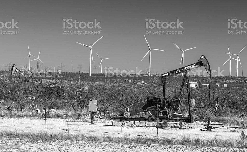 Wind Power and Fossil Fuels stock photo
