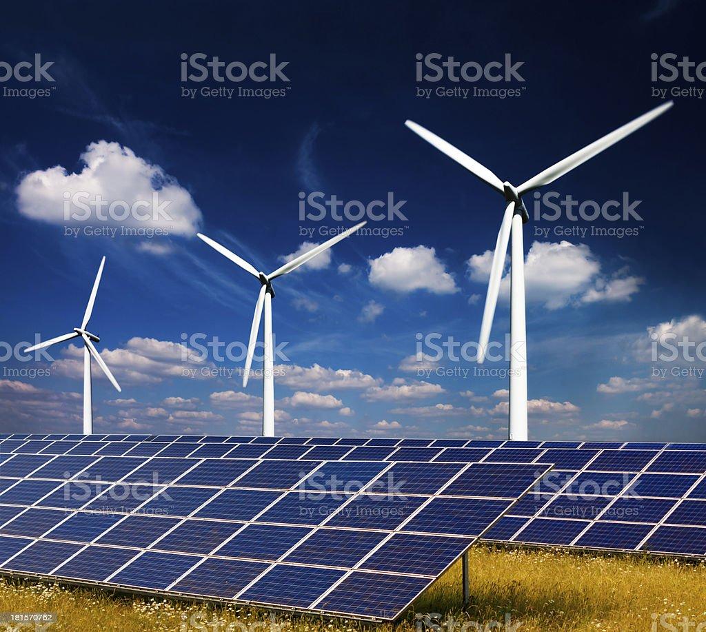 Wind Power and Solar Energy stock photo