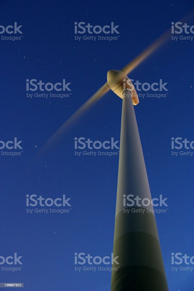 Wind Power by night royalty-free stock photo