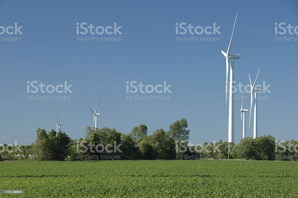 Wind power for green Ontario stock photo