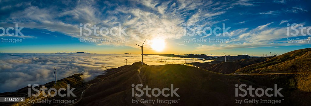 Wind Power in the sea of clouds,Guilin,China stock photo