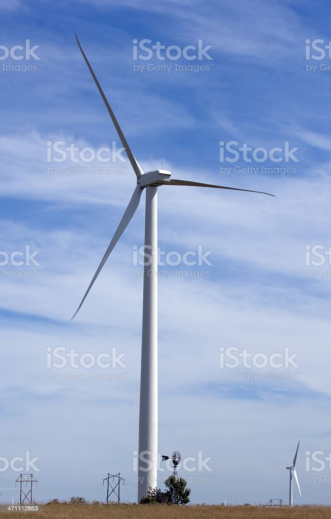 Wind Power Old & New royalty-free stock photo