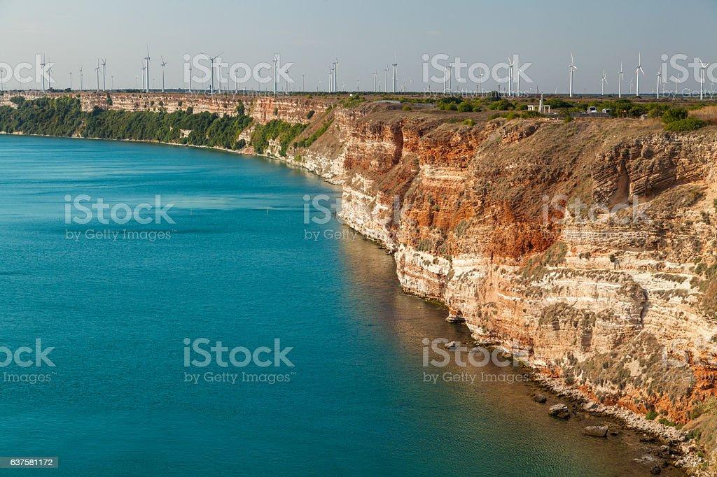 Wind power on coastline stock photo