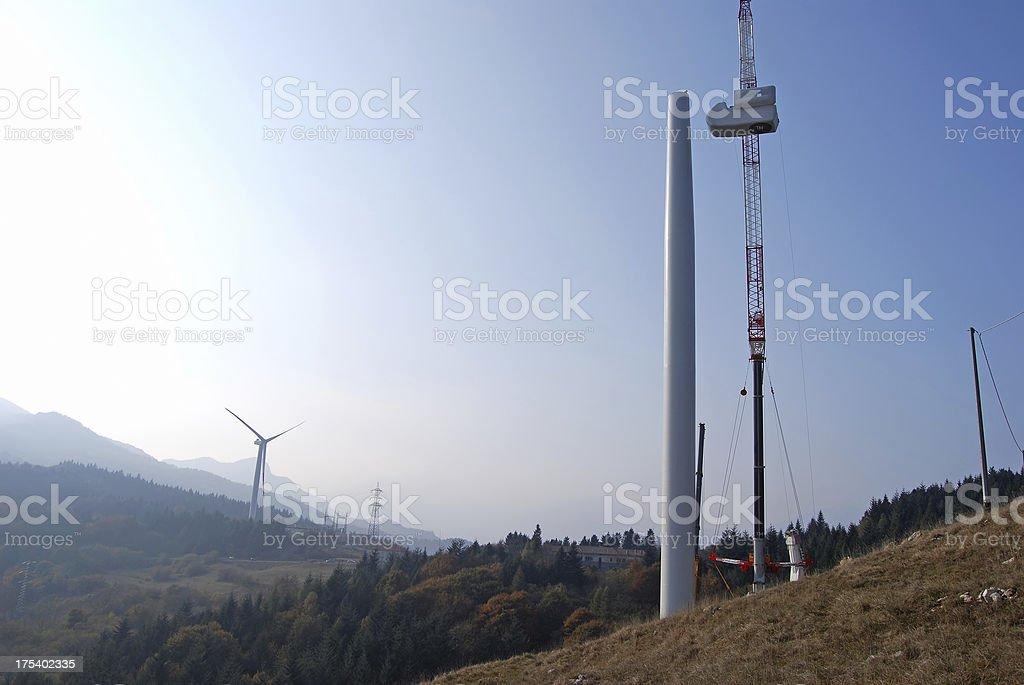 Wind power plant construction stock photo
